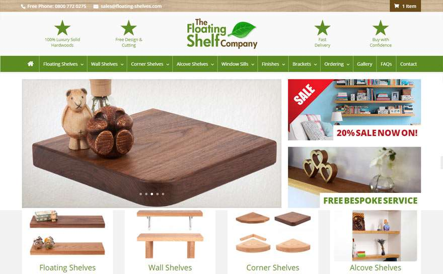 Floating-Shelves.com Web Design Portfolio