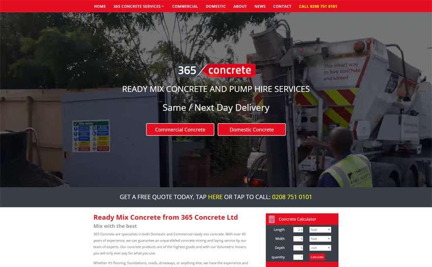 365Concrete.com Web Design Portfolio